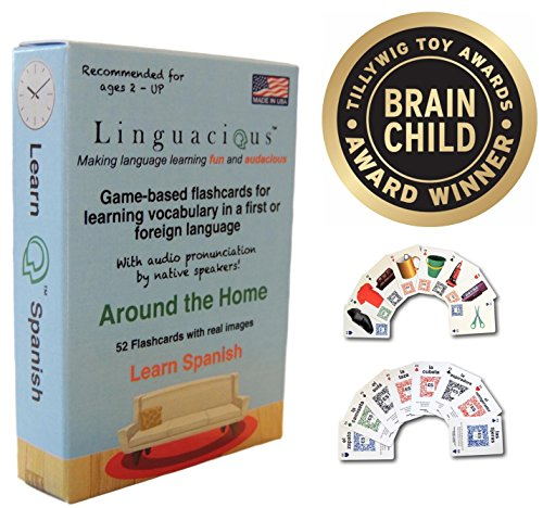 Linguacious Award-Winning Around The Home Spanish Flashcard Game - The ONLY One with Audio! by Linguacious