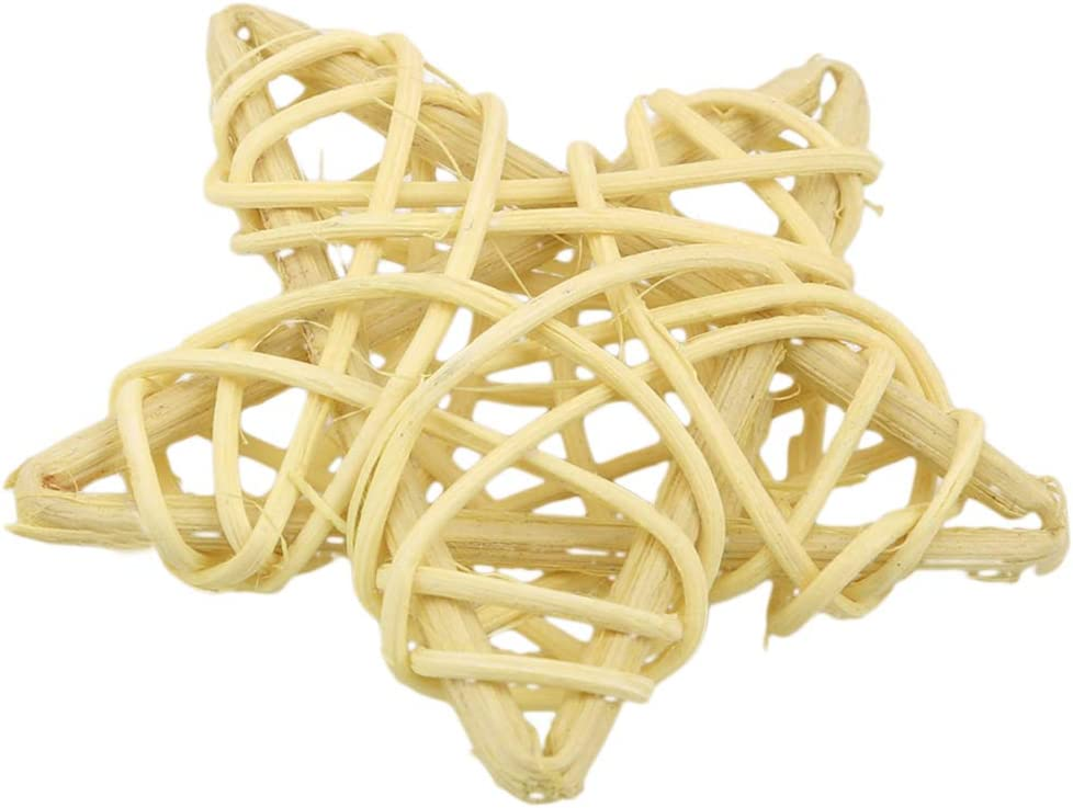Xiascas 10 Pcs Rattan Wicker Stars Hanging Ornaments Wedding Party Decoration Accessories for Indoor Outdoor,Light Green
