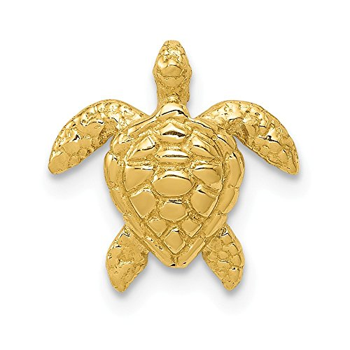(14k Yellow Gold Small Sea Turtle Necklace Chain Slide Pendant Charm Life Fine Jewelry Gifts For Women For Her)