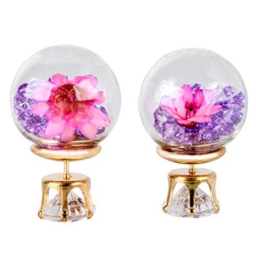 Dolland Women Crystal Ball Stud Earrings Personality Double - sided Glass Ball Drill Dry Flower Earrings Ear stud,Purple