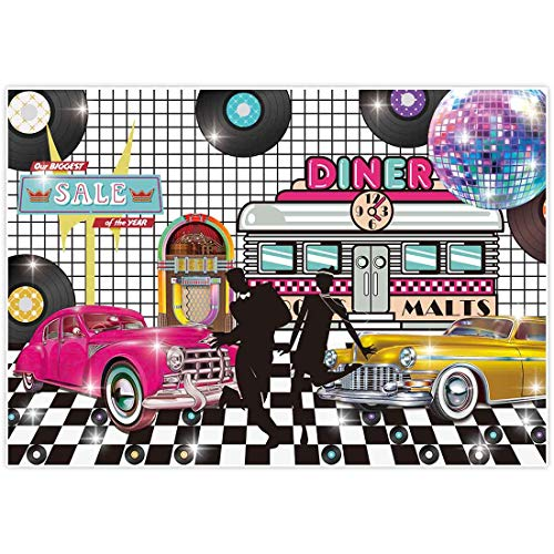 Q Dance Halloween 2019 (Allenjoy 7x5ft Back to 50s Theme Retro Backdrop 1950s Rock Roll Diner Rockin Party Supplies Sock Hop Classic Disco Crazy Dance Prom Birthday Decorations Studio Portrait Photography Props)