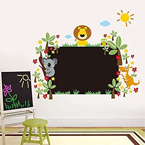 Zooarts Animal Floral Pizarra Adhesivos Vinilo de pared para niños habitación de los niños decoración