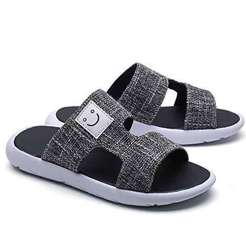 pelle suola Color fibbia vera con in decorati Jiuyue mare EU uomo da e Scarpe shoes Nero Dimensione da 39 Nero uomo Pantofole antiscivolo con da sandali qqRv8
