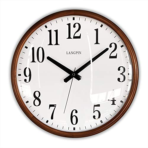 LANGPIN 15-Inch Large Wood Retro Vintage Style Decorative Clocks Battery Operated Quartz Analog Silent Movement Wall Clock for Home Kitchen Living Room Non Ticking (Arabic Numeral) ()