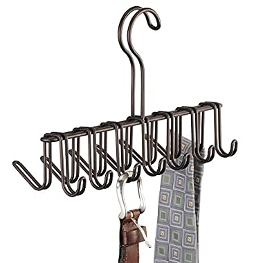 InterDesign Classico Closet Organizer Rack for Ties, Belts - 14 Hooks, Bronze
