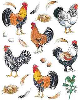 ideastix pretty boy roosters 2 sheet accents peel and stick dcor