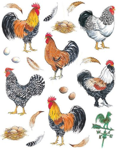 IdeaStix Pretty Boy Roosters 2-Sheet Accents Peel and Stick - Rooster Tile Wall