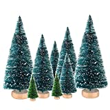8Pcs Mini Artificial Sisal Snow Frost Christmas Trees Ornaments Bottle Model Tree for Crafts DIY Room Decor Home Table Top Decorations