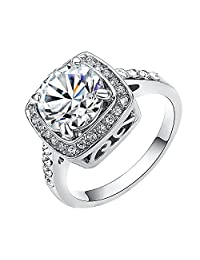 Yoursfs Gorgeous Crystal 18k White Gold Plated Wedding Clear Rhineston Ring for Best Gifts