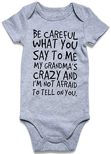 UNICOMIDEA Toddler Short Sleeve Jumpsuit, Infant Baby Onesie Cute Letter Rompers of Be Careful What You Say,Funny Romper Clothes for 0-3 Months -