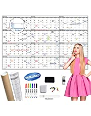 """Large Dry Erase Wall Calendar - 60"""" x 38"""" Undated Blank Yearly Planner - Giant Whiteboard 12 Month Poster - Premium Laminated Calendar for Classroom, Office, Project & Family Schedule"""