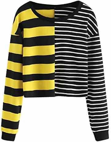 fff4c83b71d Staron Womens Striped Patchwork Sweatshirts Long Sleeve Color Block Pullover  Tops