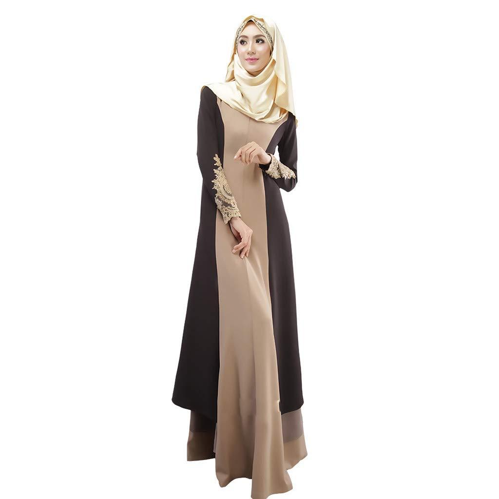 8b00b2f33d6 Amazon.com  Womens Muslim Kaftan Abaya Long Maxi Party Dress Arab Jilbab  Islamic Ethnic Lace Robe Vintage Cocktail Evening Gown  Clothing