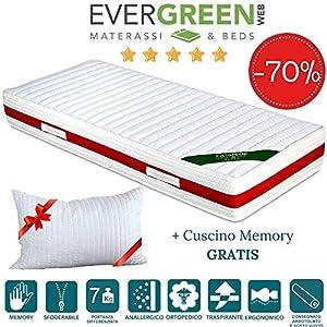 EVERGREENWEB - Materasso Singolo 80x190 in Memory Foam Alto 22 cm con Cuscino Cervicale Gratis Lastra Massaggiante… 4 spesavip