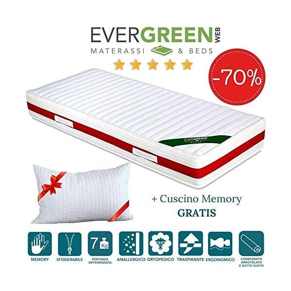 EVERGREENWEB - Materasso Singolo 80x190 in Memory Foam Alto 22 cm con Cuscino Cervicale Gratis Lastra Massaggiante… 1 spesavip
