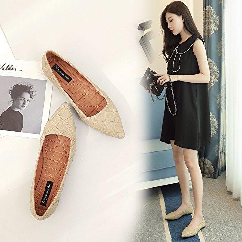 Xue Qiqi Court Schuhe Shallow Mouth Mouth Mouth Flache Ferse Schuhe Flache Schuhe Frauen einfache einfarbig Low-Heels 39 Aprikose 11c70c