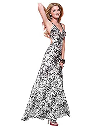 Amazon.com: Scala Metallic Silver Leopard Print Prom Dress