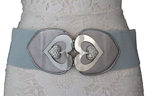 TFJ Women Fashion Belt Elastic Hip High Waist Big Silver Metal Hearts Buckle S M Gray (Heart Cool Belt Buckle)