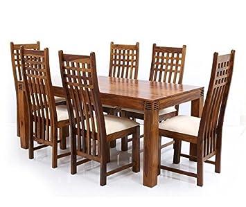 Nisha Furniture Sheesham Wooden Dining Table Set | Dining Table Set with 6 Chairs | Home Dining Room Furniture | Natural Brown