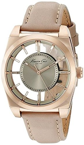 Kenneth Cole New York Women's 'Transparency' Quartz Stainless Steel and Leather Dress Watch, Color:Beige (Model: 10027853)