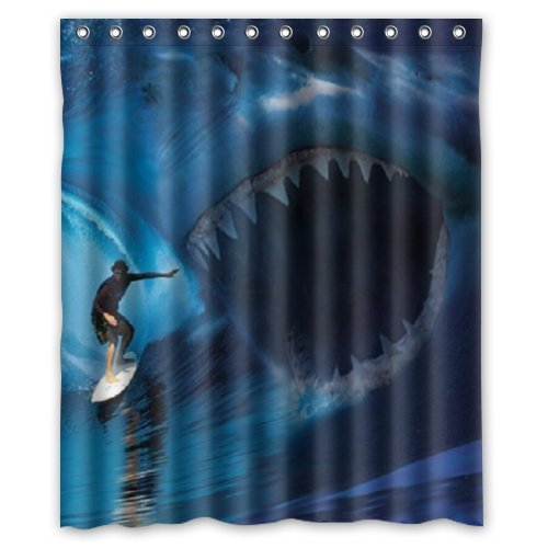 Tropical Sea Life Terrible Shark To Fit Bath Tubs Window Curtain 50