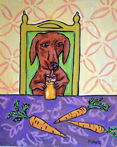 Dachshund drinking Carrot Juice signed dog art print