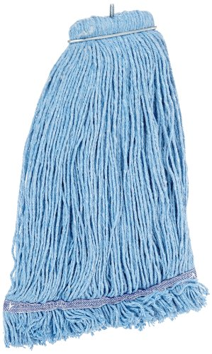 Impact 36132 Layflat Screw-Type Cut-End Blend Wet Mop Head with No-Tangle Band, 32 oz, Blue (Case of 12) ()
