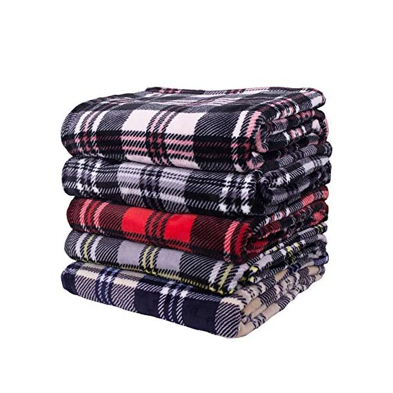 SOCHOW Flannel Fleece Blanket 50 × 60 Inches, All Season Plaid Red/Grey Blanket for Bed, Couch, Car - MATERIAL&DESIGN:These flannel blankets are 100% high-quality polyester fiber. The thick and thin lines are interspersed to emphasize the texture of the blankets, which are endowed with modern style without compromising comfort.They are extremely soft and warm with delicate package edge, rigorously designed with rigorous broad-brimmed pattern. Besides, they also feature seamless round edge, solid and beautiful. EASY CARE: - Machine washable under 30 degrees -Easy to store, -Wrinkle-resistant -High color fastness &No hair off. MULTI FUNCTIONS:Suitable use for couch, chair, car, bed or on the floor. It's also easy to take to outdoors. - blankets-throws, bedroom-sheets-comforters, bedroom - 51Scvw42CcL. SS570  -