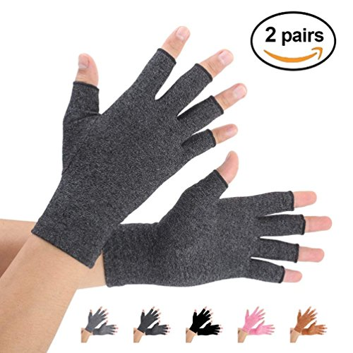 Arthritis Gloves 2 Pairs, Compression Gloves Support and Warmth for Hands, Finger Joint, Relieve Pain from Rheumatoid, Osteoarthritis, RSI, Carpal Tunnel, Tendonitis, Women and Men (Black, Medium)