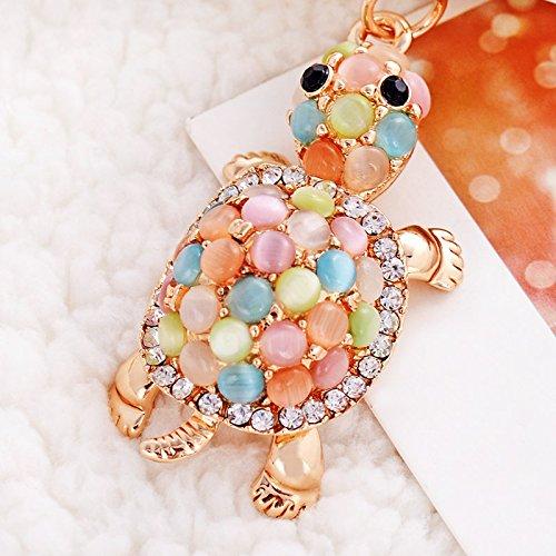 Cute Turtle Shape Crystal Rhinestone Keychain Key Chain Sparkling Key Ring Charm Purse Pendant Handbag Bag Decoration Holiday Gift (Multi-Color Pearl)