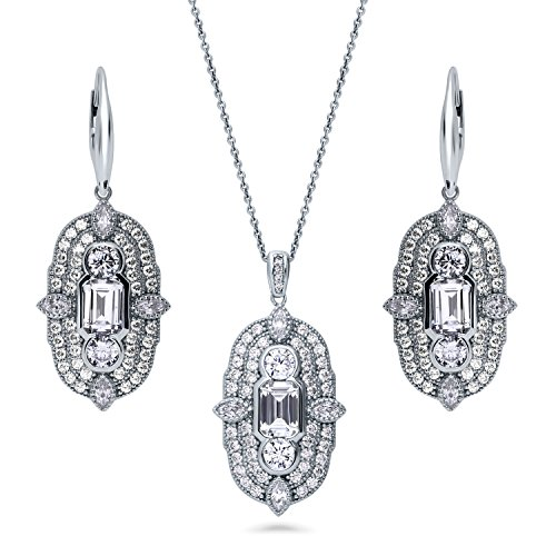 BERRICLE Rhodium Plated Sterling Silver Cubic Zirconia CZ Art Deco Necklace and Earrings Set by BERRICLE