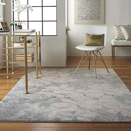 (Nourison TRA08 Tranquil Floral Contemporary Grey/Pink Area Rug 4' X 6)