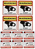 Video Surveillance Camera Sticker Sign - 10 Pack Decal - Home Business Alarm