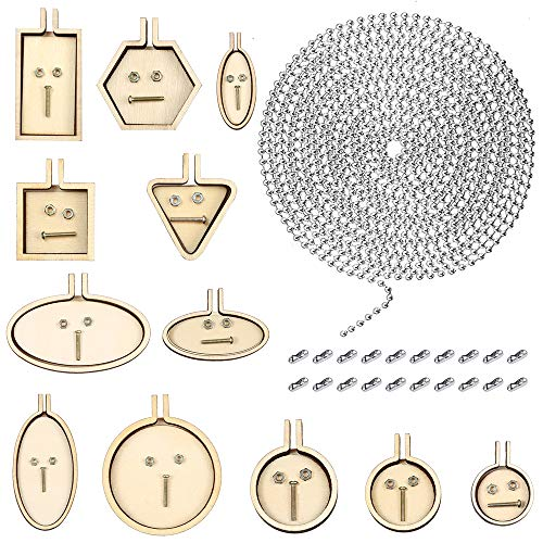 Caydo 12 Pieces Mini Ring Embroidery Circle Hoops DIY Wooden Cross Stitch Hoop Sewing Kit Frame with 10 Feet Beaded Chain (2.4 mm) and 20 Pieces Matching Connectors for Art Craft Sewing and Hanging
