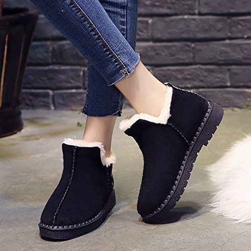Ankle Flat Warm Womens Boots Booties Snow Outdoor Fur On Winter Btrada Full Platform Pull Black Lining Antiskid Fxw7BqxnEd