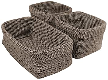 DII Home Essentials Hand Crocheted Storage Baskets For Drawers, Closets,  Bathrooms, Kitchen,