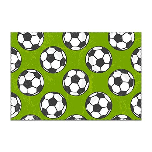 yyoungsell Placemats for Dining Table Soccer Pattern Durable Kitchen Table Mats Washable Heat Resistant Stain-Resistant Non Slip Placemat ()