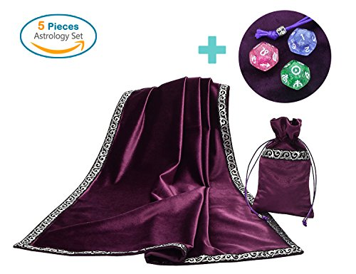 """Altar Tarot Card Table Cloth with Tarot Pouch and 3 Astrology Dices Purple (25.5"""" x 25.5"""")"""
