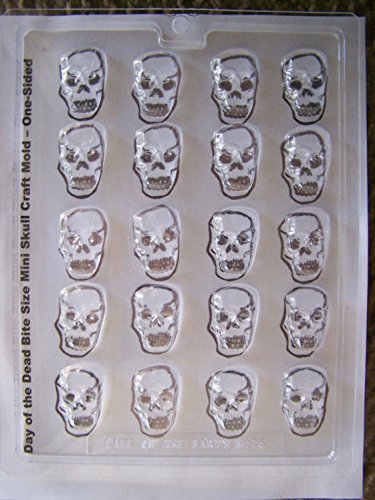 (Bite Size Mini Flat Back Sugar Skull Chocolate Candy Mold - Day of the Dead Sugar Skulls, Candy Skulls)
