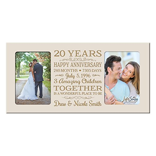 Personalized twenty year anniversary gift her him couple Custom Engraved wedding celebration for Husband wife girlfriend boyfriend photo frame holds two 4x6 photos by LifeSong Milestones (Ivory) - Anniversary Year Photo Holder