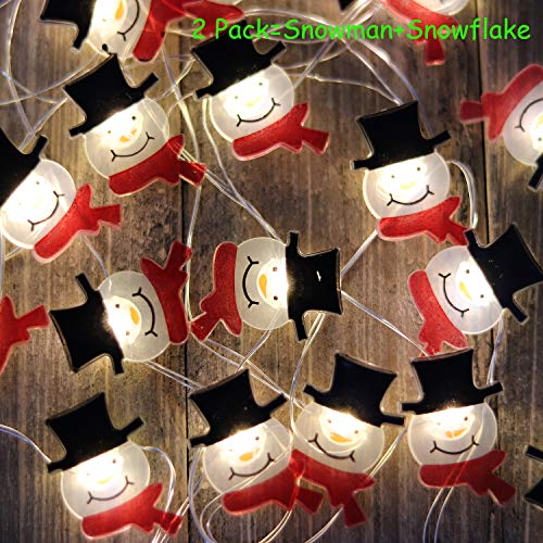 Christmas Lights Battery Operated String Lights with Timer Flexible Copper Wire 20 LED x 2 Packs of Novelty Starry Lights String for Christmas(Snowflake and Snowman)