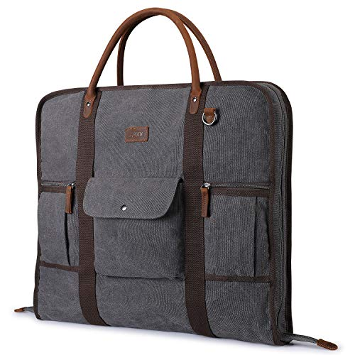 Carry On Garment Bag for Travel S-ZONE Canvas Genuine Leather Trim Men Suit Cover Business Trips and Storage(Grey)