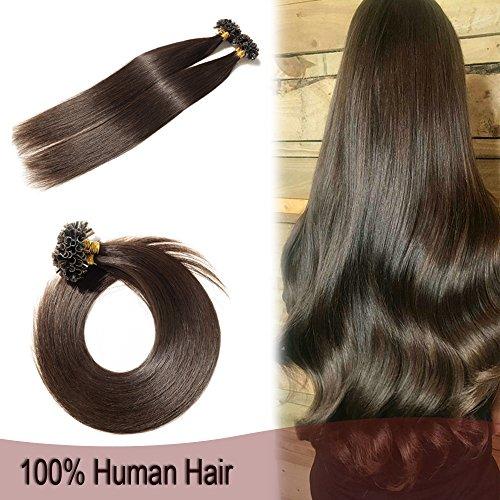 (100 Strands U Tip Nail Glue Pre Bonded Human Remy Hair Extensions Keratin Fusion Hair 18