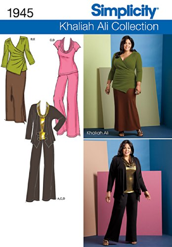 Simplicity Khaliah Ali Collection Pattern 1945 Women's Pants, Skirt and Knit Tops and Cardigan Sweater Sizes 20W-28W ()