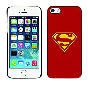 ROKK CASES / Apple Iphone 5 / 5S / RED & YELLOW S SUPERHERO / Slim Black Plastic Case Cover Shell Armor