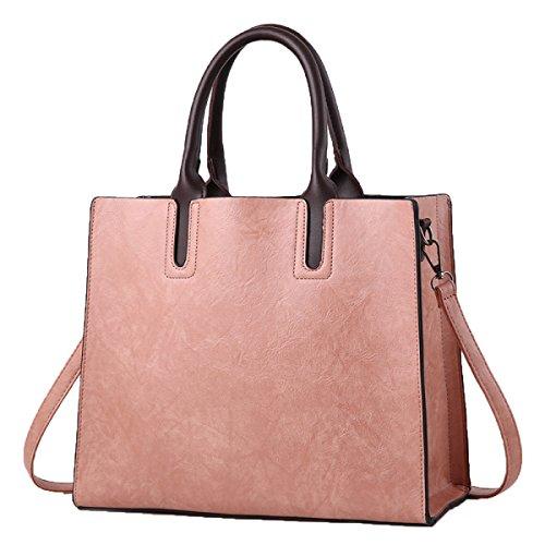 ADEMI Bolsos De La PU Simple Nuevo Bolso De Alta Capacidad Messenger Bag Bandolera Pink