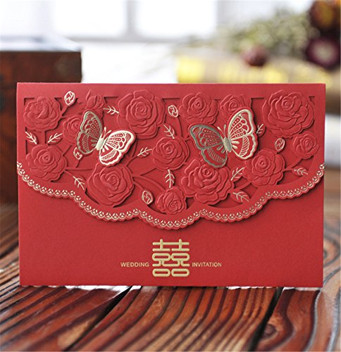 Skyseen 25Pcs Chinese Red Double Happiness Laser Cut Hollow Out Floral Design Wedding Invitation Card Double Happiness Wedding Invitations