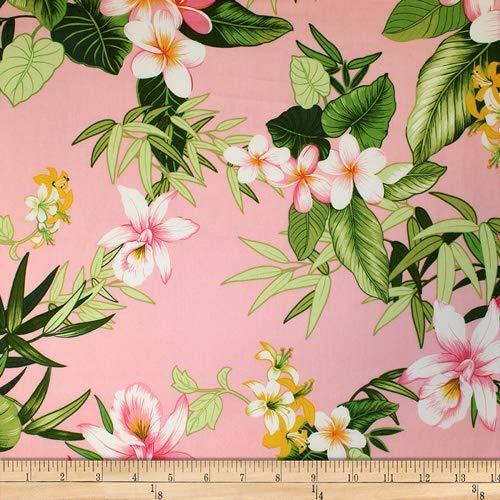 - Trans-Pacific Textiles Hawaiian Bamboo Tropics Pink, Fabric by the Yard