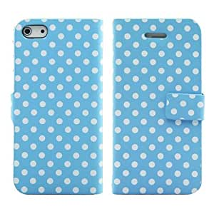 YESOO™ Wallet Leather Flip Folio Case Cover for iPhone 5s - Light Blue with White Dot