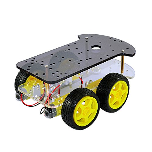 4WD Smart Car Robot Chassis for Arduino with 4pcs Gear Motor+4pcs Tire Wheel by Aigh Auality shop